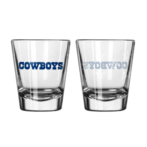 Dallas Cowboys Shot Glass Satin Etch Style 2 Pack