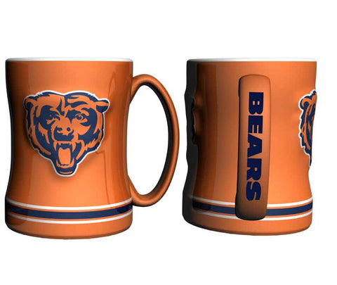 Chicago Bears Coffee Mug - 14oz Sculpted Relief - Orange