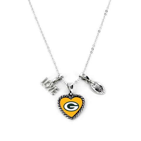 Green Bay Packers Necklace Charmed Sport Love Football