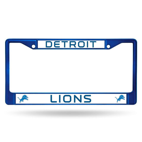 Detroit Lions License Plate Frame Metal Blue
