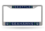 Seattle Seahawks License Plate Frame Chrome 12th Man Jersey Design