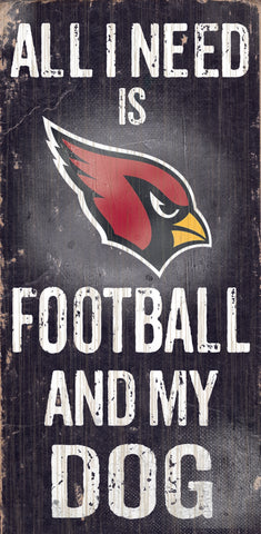 "Arizona Cardinals Wood Sign - Football and Dog 6""x12"""