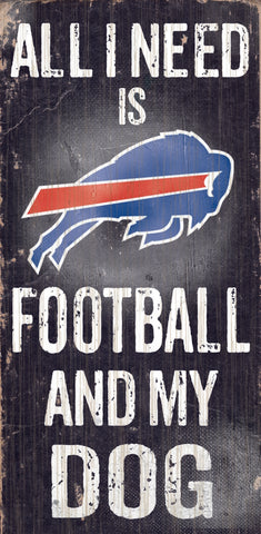 "Buffalo Bills Wood Sign - Football and Dog 6""x12"""