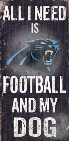 "Carolina Panthers Wood Sign - Football and Dog 6""x12"""