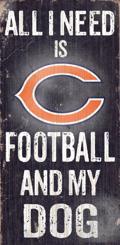"Chicago Bears Wood Sign - Football and Dog 6""x12"""