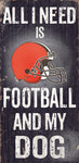 "Cleveland Browns Wood Sign - Football and Dog 6""x12"""