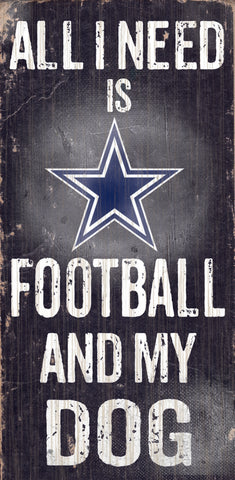"Dallas Cowboys Wood Sign - Football and Dog 6""x12"""