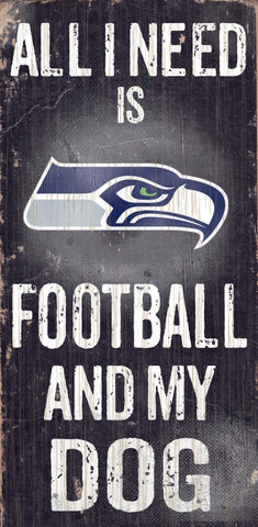 "Seattle Seahawks Wood Sign - Football and Dog 6""x12"""