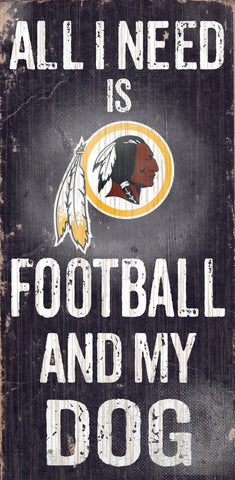 "Washington Redskins Wood Sign - Football and Dog 6""x12"""