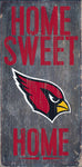 "Arizona Cardinals Wood Sign - Home Sweet Home 6""x12"""