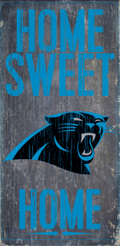 "Carolina Panthers Wood Sign - Home Sweet Home 6""x12"""