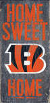 "Cincinnati Bengals Wood Sign - Home Sweet Home 6""x12"""