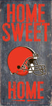"Cleveland Browns Wood Sign - Home Sweet Home 6""x12"""