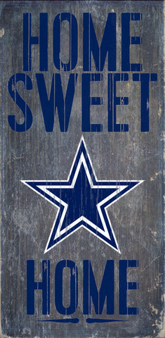 "Dallas Cowboys Wood Sign - Home Sweet Home 6""x12"""