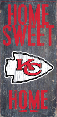 "Kansas City Chiefs Wood Sign - Home Sweet Home 6""x12"""