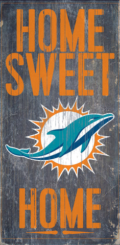 "Miami Dolphins Wood Sign - Home Sweet Home 6""x12"""