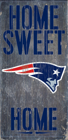 "New England Patriots Wood Sign - Home Sweet Home 6""x12"""