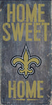"New Orleans Saints Wood Sign - Home Sweet Home 6""x12"""