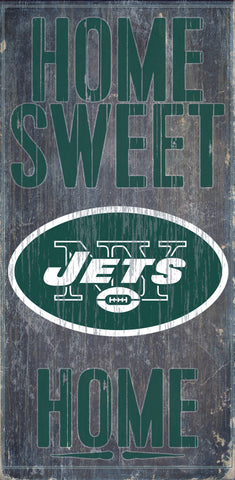 "New York Jets Wood Sign - Home Sweet Home 6""x12"""