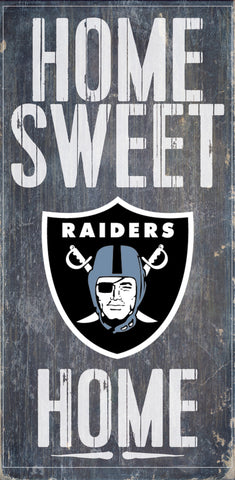 "Oakland Raiders Wood Sign - Home Sweet Home 6""x12"""