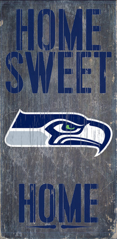 "Seattle Seahawks Wood Sign - Home Sweet Home 6""x12"""