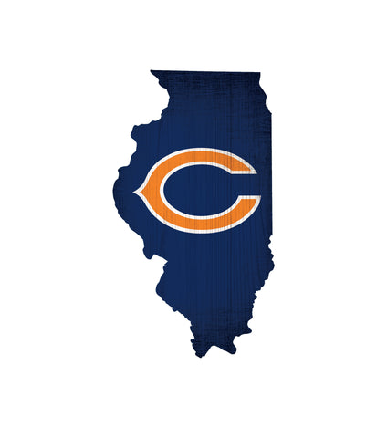 Chicago Bears Sign Wood Logo State Design