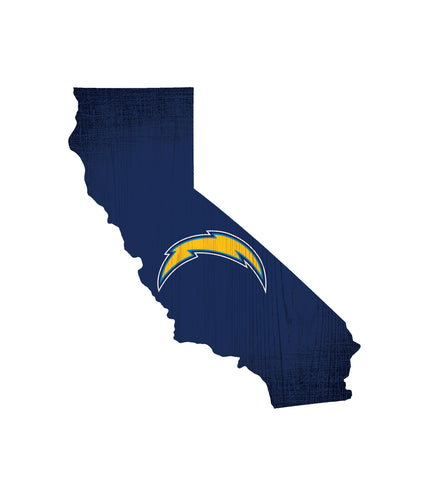 Los Angeles Chargers Sign Wood Logo State Design
