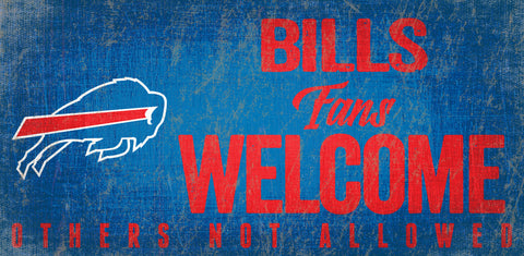 Buffalo Bills Wood Sign Fans Welcome 12x6