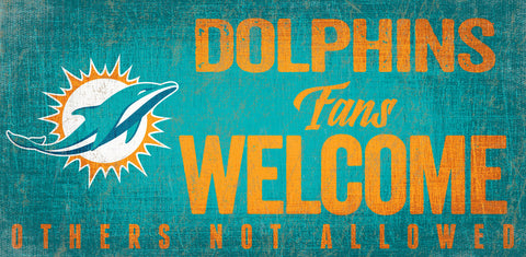 Miami Dolphins Wood Sign Fans Welcome 12x6