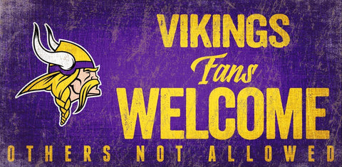 Minnesota Vikings Wood Sign Fans Welcome 12x6