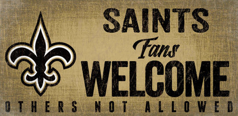 New Orleans Saints Wood Sign Fans Welcome 12x6