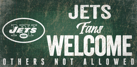 New York Jets Wood Sign Fans Welcome 12x6