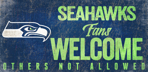 Seattle Seahawks Wood Sign Fans Welcome 12x6