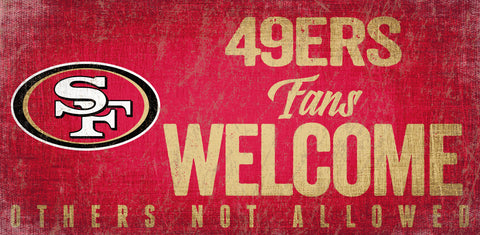 San Francisco 49ers Wood Sign Fans Welcome 12x6