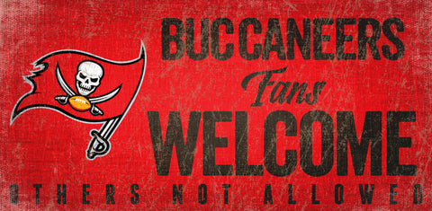 Tampa Bay Buccaneers Wood Sign Fans Welcome 12x6