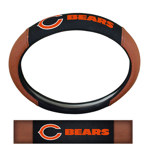 Chicago Bears Steering Wheel Cover Premium Pigskin Style