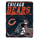 Chicago Bears Blanket 46x60 Micro Raschel 40 Yard Dash Design Rolled