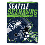 Seattle Seahawks Blanket 46x60 Micro Raschel 40 Yard Dash Design Rolled