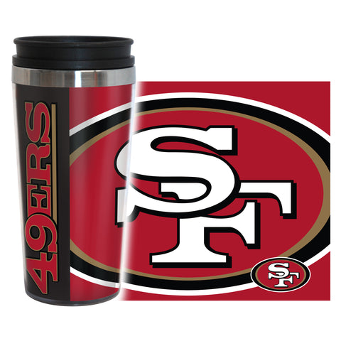 San Francisco 49ers Travel Mug 14oz Full Wrap Style Hype Design