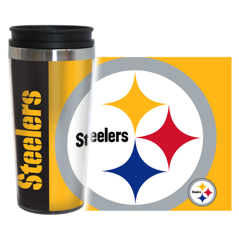 Pittsburgh Steelers Travel Mug 14oz Full Wrap Style Hype Design