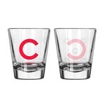 Chicago Cubs Shot Glass Satin Etch Style 2 Pack