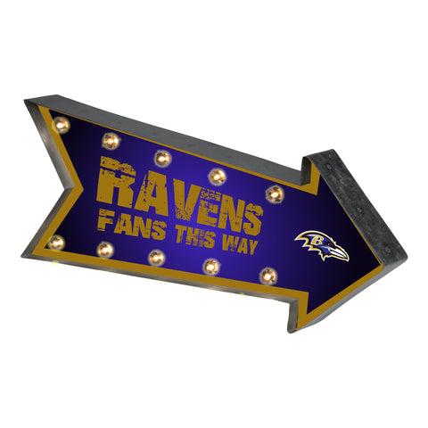 Baltimore Ravens Sign Marquee Style Light Up Arrow Design