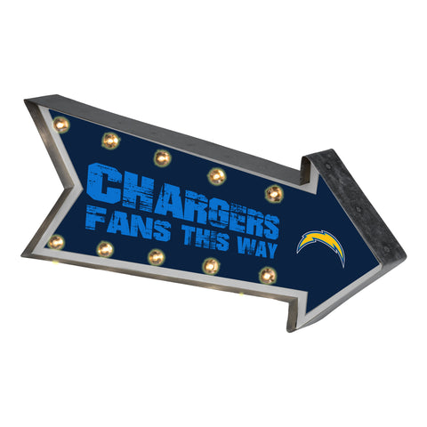 Los Angeles Chargers Sign Marquee Style Light Up Arrow Design