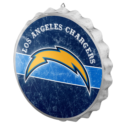Los Angeles Chargers Sign Bottle Cap Style Distressed