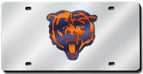 Chicago Bears License Plate Laser Cut Silver
