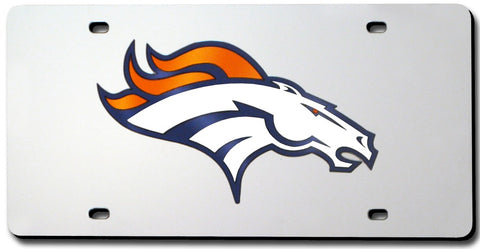 Denver Broncos License Plate Laser Cut Silver