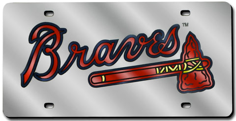 Atlanta Braves License Plate Laser Cut Silver