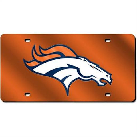 Denver Broncos License Plate Laser Cut Light Orange