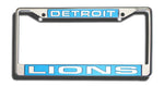 Detroit Lions License Plate Frame Laser Cut Chrome