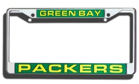 Green Bay Packers License Plate Frame Laser Cut Chrome